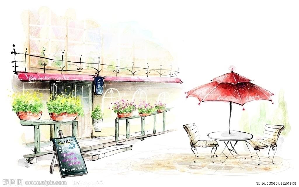咖啡馆手绘效果图